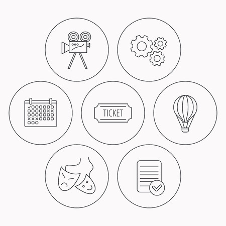 theatre masks: Video camera, ticket and theatre masks icons. Air balloon linear sign. Check file, calendar and cogwheel icons. Vector