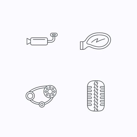 tread: Tire tread, car mirror and timing belt icons. Muffler linear sign. Flat linear icons on white background. Vector Illustration