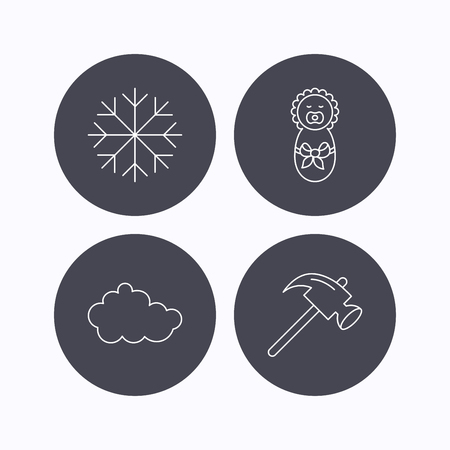 air hammer: Newborn, cloud and snowflake icons. Hammer linear sign. Flat icons in circle buttons on white background. Vector