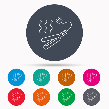 Curling iron icon. Hairstyle electric tool sign. Icons in colour circle buttons. Vector