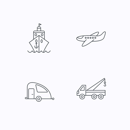 planos electricos: Transportation icons. Cruise, airplane and van linear signs. Evacuator flat line icon. Flat linear icons on white background. Vector Vectores