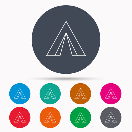 hike: Tourist tent icon. Camping travel hike sign. Icons in colour circle buttons. Vector
