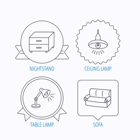 cosy: Sofa, table lamp and nightstand icons. Ceiling lamp linear sign. Award medal, star label and speech bubble designs. Vector