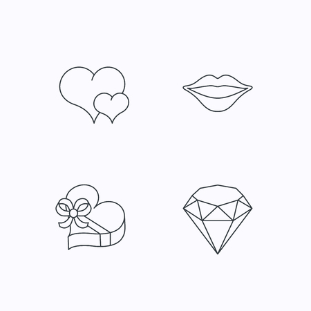 kiss lips: Love heart, brilliant and gift box icons. Kiss lips linear sign. Flat linear icons on white background. Vector