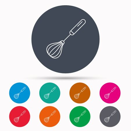stir: Whisk icon. Kitchen tool sign. Kitchenware whisking beater symbol. Icons in colour circle buttons. Vector