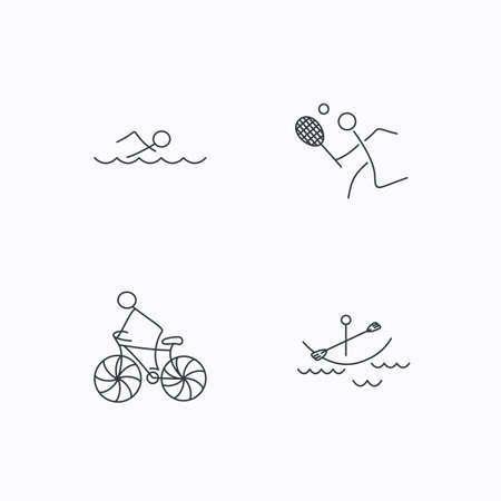 boating: Swimming, tennis and biking icons. Boating linear sign. Flat linear icons on white background. Vector