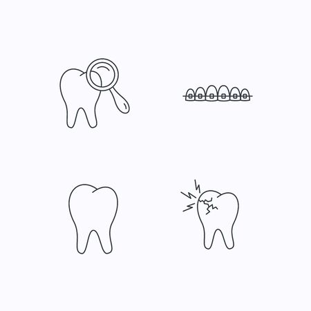 dental braces: Tooth, dental braces and toothache icons. Dental diagnostics linear sign. Flat linear icons on white background. Vector