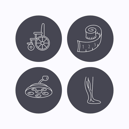 vein: Weight loss, wheelchair and vein varicose icons. Surgical lamp and phlebology linear signs. Flat icons in circle buttons on white background. Vector Illustration