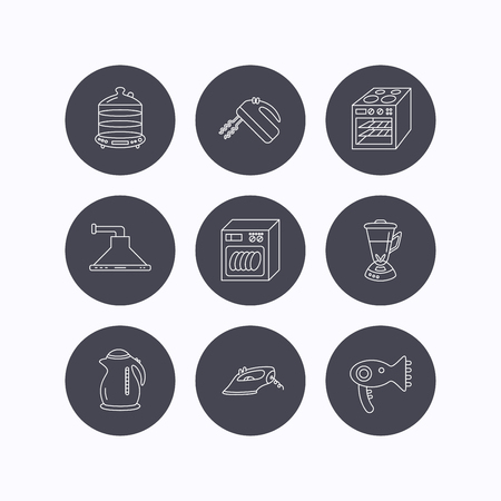 flat iron: Dishwasher, kettle and mixer icons. Oven, steamer and iron linear signs. Hair dryer, blender and kitchen hood icons. Flat icons in circle buttons on white background. Vector