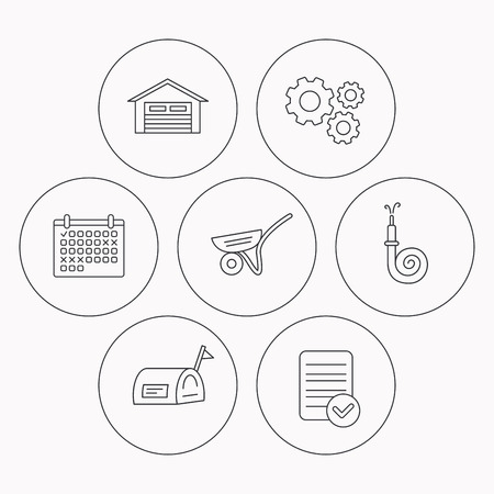 Mailbox, garage and fire hose icons. Trolley linear sign. Check file, calendar and cogwheel icons. Vector Illustration