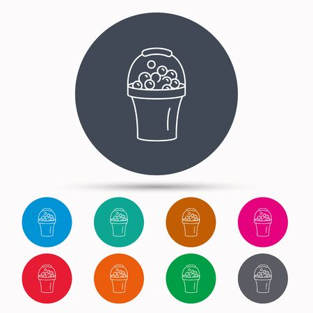 soapy: Bucket with foam icon. Soapy cleaning sign. Icons in colour circle buttons. Vector