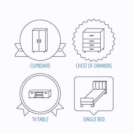 chest of drawers: Single bed, TV table and cupboard icons. Chest of drawers linear sign. Award medal, star label and speech bubble designs. Vector