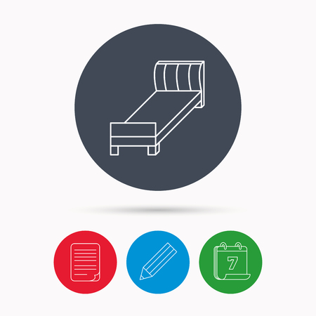 date night: Single bed icon. Bedroom furniture sign. Calendar, pencil or edit and document file signs. Vector