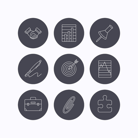 white pushpin: Handshake, graph charts and target icons. Puzzle, pushpin and safety pin linear signs. Briefcase and pen flat line icons. Flat icons in circle buttons on white background. Vector Illustration