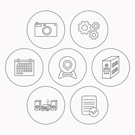 pc case: Photo camera, pc case and music center icons. Web camera linear sign. Check file, calendar and cogwheel icons. Vector Illustration