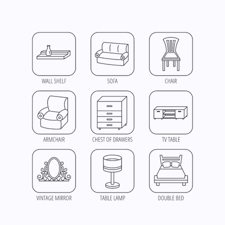 chest wall: Double bed, table lamp and armchair icons. Chair, lamp and vintage mirror linear signs. Wall shelf, sofa and chest of drawers furniture icons. Flat linear icons in squares on white background. Vector