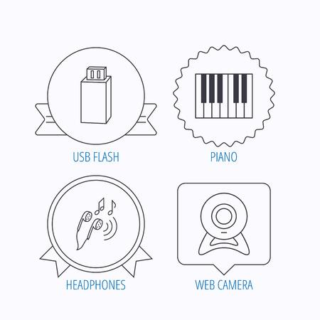 Burbujas De Discurso Coloreado Auriculares Cámara Web E