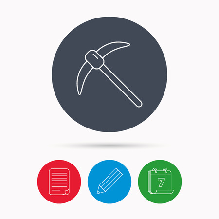 mattock: Mining tool icon. Pickaxe equipment sign. Minerals industry symbol. Calendar, pencil or edit and document file signs. Vector