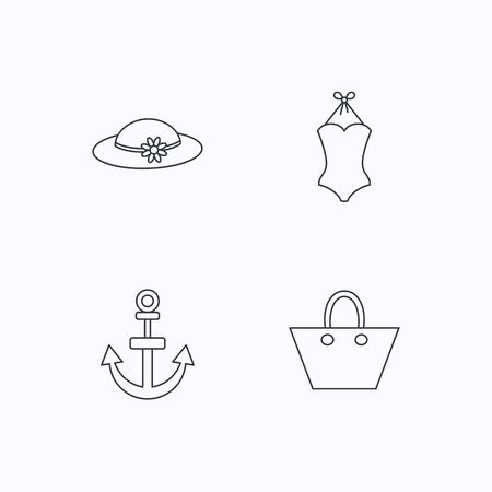 black woman lingerie: Anchor, ladies handbag and swimsuit icons. Swimsuit linear sign. Flat linear icons on white background. Vector