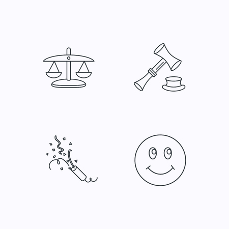shah: Scales of justice, auction hammer and slapstick icons. Smiling face linear sign. Flat linear icons on white background. Vector