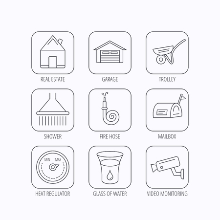 Real estate, garage and heat regulator icons. Trolley, fire hose and mailbox linear signs. Shower, glass of water and video monitoring icons. Flat linear icons in squares on white background. Vector Illustration