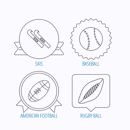 footbal: Sport fitness, rugby ball and baseball icons. American footbal, skis linear signs. Award medal, star label and speech bubble designs. Vector Illustration