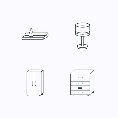 Table lamp, cupboard and wall shelf icons. Chest of drawers linear sign. Flat linear icons on white background. Vector