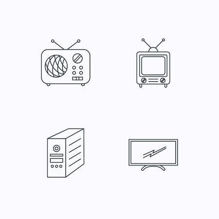 pc case: Retro TV, radio and PC case icons. Computer linear sign. Flat linear icons on white background. Vector Illustration