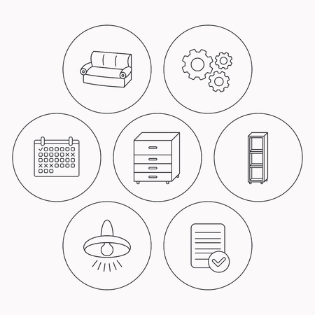 shelving: Sofa, ceiling lamp and shelving icons. Chest of drawers linear sign. Check file, calendar and cogwheel icons. Vector