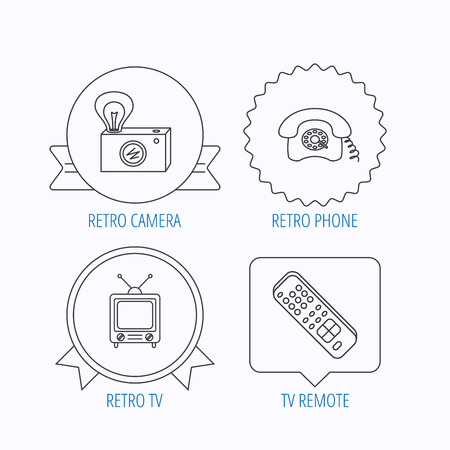 tv remote: Retro camera, TV remote and phone call icons. Vintage TV linear sign. Award medal, star label and speech bubble designs. Vector