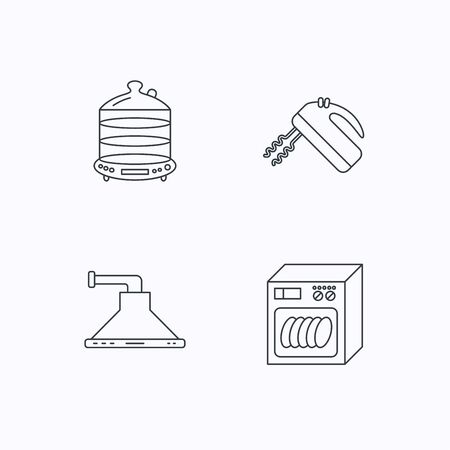 auto washing: Dishwasher, kitchen hood and mixer icons. Steamer linear sign. Flat linear icons on white background. Vector