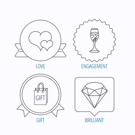 shopping champagne: Love heart, gift box and wedding ring icons. Brilliant and engagement linear signs. Award medal, star label and speech bubble designs. Vector