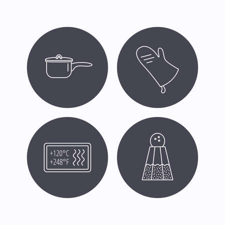 resistant: Saucepan, potholder and salt icons. Heat-resistant linear sign. Flat icons in circle buttons on white background. Vector