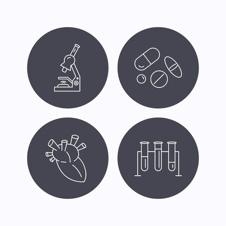 analyses: Microscope, medical pills and heart icons. Lab bulbs linear sign. Flat icons in circle buttons on white background. Vector