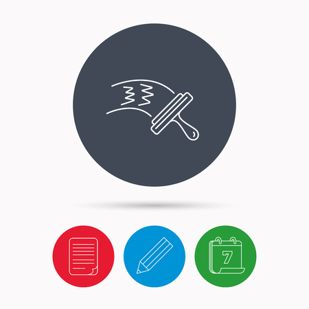 washing windows: Washing windows icon. Cleaning sign. Calendar, pencil or edit and document file signs. Vector
