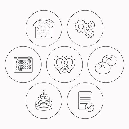 bread rolls: Cake, pretzel and bread rolls icons. Toast linear sign. Check file, calendar and cogwheel icons. Vector