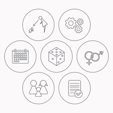 supervision: Male, female, dice and family icons. Under supervision linear sign. Check file, calendar and cogwheel icons. Vector