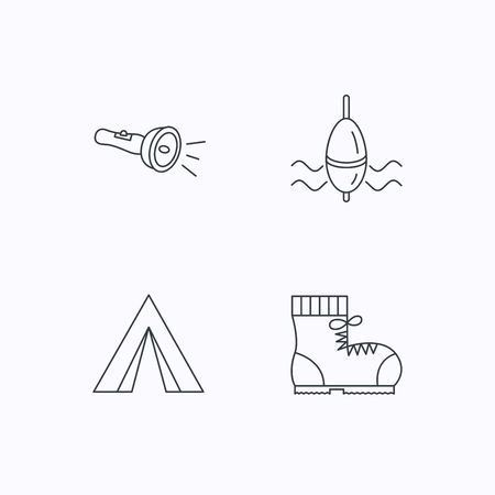 fishing float: Flashlight, fishing float and hiking boots. Camping tent linear sign. Flat linear icons on white background. Vector
