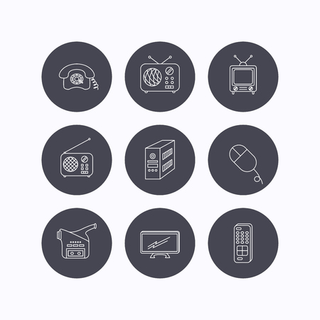 pc case: Radio, TV remote and video camera icons. Retro phone, PC case and mouse linear signs. Flat icons in circle buttons on white background. Vector Illustration