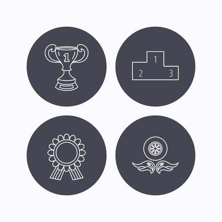 race winner: Winner cup, podium and award medal icons. Race symbol, wheel on fire linear signs. Flat icons in circle buttons on white background. Vector