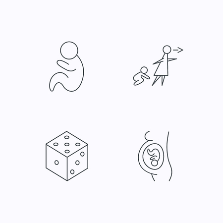 unattended: Pregnancy, paediatrics and dice icons. Unattended linear sign. Flat linear icons on white background. Vector