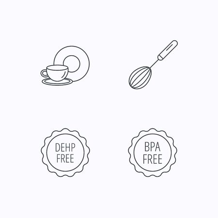 bpa: Food and drink, whisk and BPA free icons. DEHP free linear sign. Flat linear icons on white background. Vector