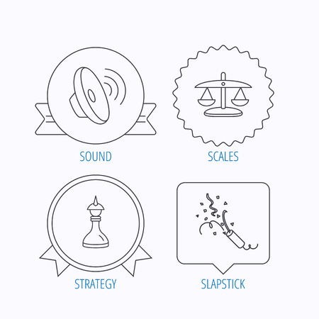 shah: Scales of justice, sound and strategy icons. Slapstick linear sign. Award medal, star label and speech bubble designs. Vector Illustration