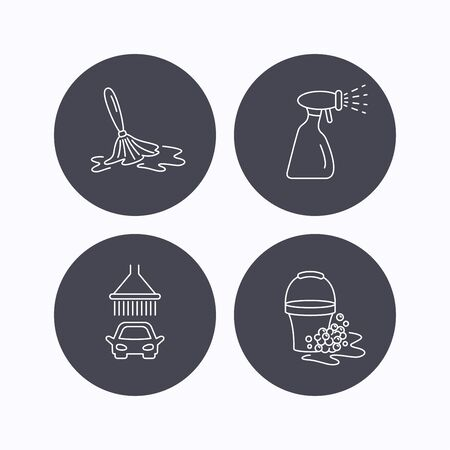 operated: Car wash icons. Automatic cleaning station linear signs. Bucket with foam bubbles, spray flat line icons. Flat icons in circle buttons on white background. Vector
