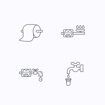 sewage: Toilet paper, gas and water counter icons. Save water linear sign. Flat linear icons on white background. Vector