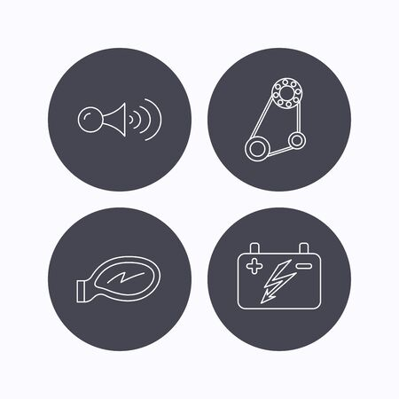 accumulator: Accumulator, klaxon signal and generator belt icons. Accumulator linear sign. Flat icons in circle buttons on white background. Vector