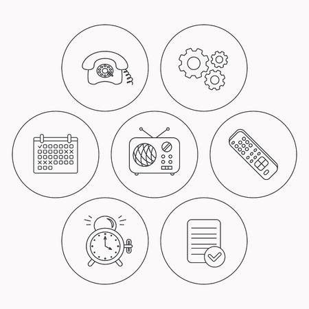 clock radio: Retro phone, radio and TV remote icons. Alarm clock linear sign. Check file, calendar and cogwheel icons. Vector
