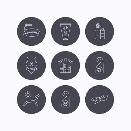 5 door: Hotel, swimming pool and beach deck chair icons. Sun cream, do not disturb and clean room linear signs. Shampoo and airplane icons. Flat icons in circle buttons on white background. Vector Illustration