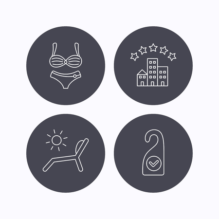 Hotel, lingerie and beach deck chair icons. Clean room linear sign. Flat icons in circle buttons on white background. Vector