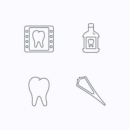 enjuague bucal: Enjuague bucal, los dientes y los iconos de rayos X dentales. Pinzas lineales firman. iconos lineales planos sobre fondo blanco. Vector